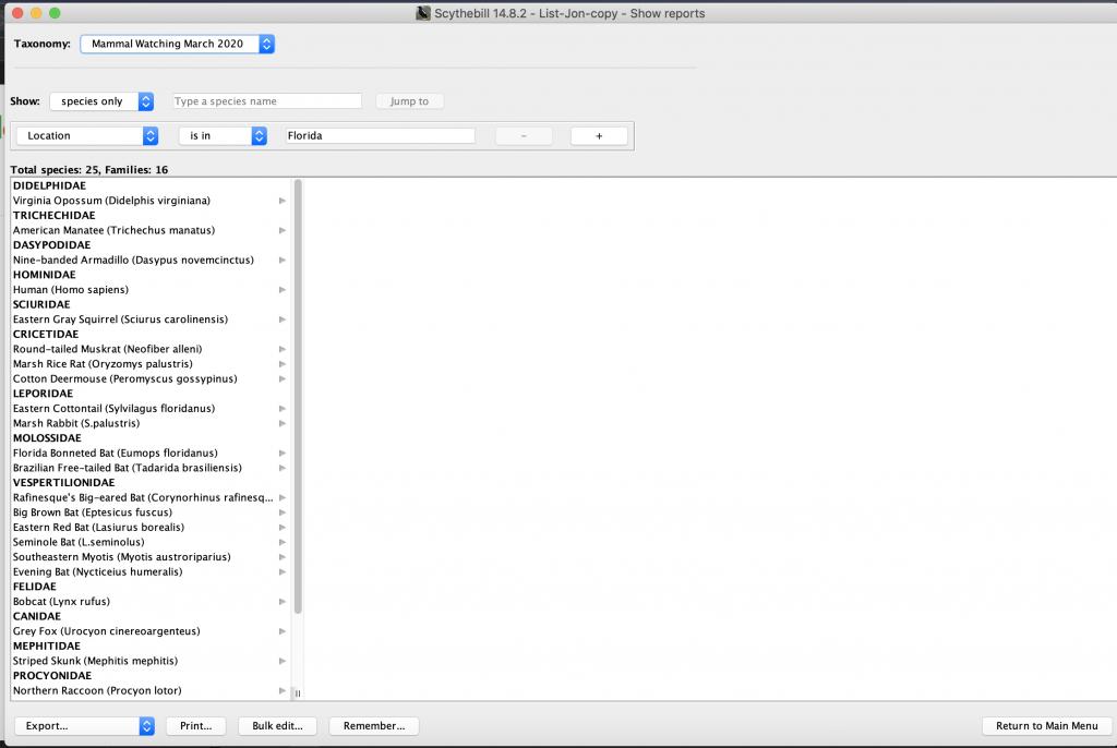 Mammal Listing Software: Scythebill